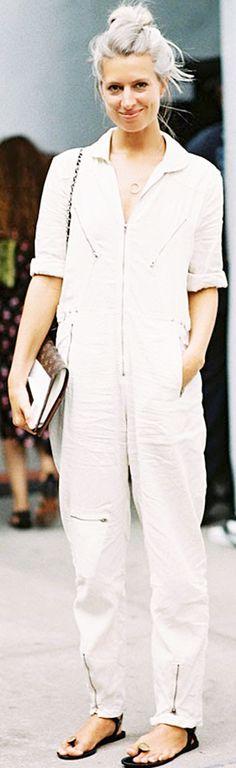 White linen jumpsuit with black sandals