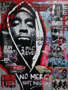"Saatchi Art Artist Wojtek Bąbski; Collage, ""Tupac"" #art"