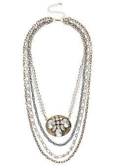 Mixed metal chain and rhinestone statement necklace (original price, $20) available at #Maurices