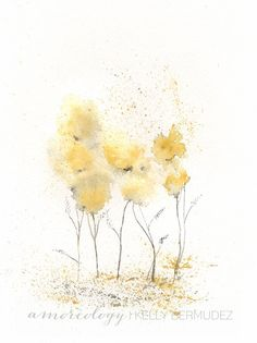 Fields of Love / watercolor print / grey and by kellybermudez, $20.00