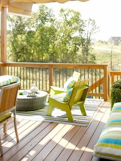 Refresh Your Deck - love the color of the furniture #porch #green