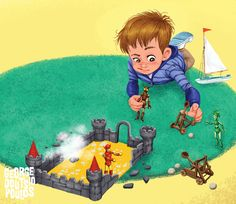 The Adventures of Perry (4th spread) by GeorgeD on DeviantArt Children's Book Illustration, Character Illustration, Craft Images, Adult Cartoons, Kid Character, Character Design References, Cartoon Kids, Little Boys, Kids Playing