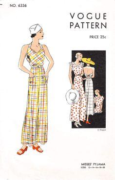 Vogue 6336 1930s pinafore jumpsuit beachwear pajamas vintage sewing pattern reproduction