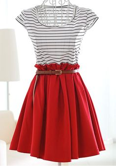 Wine Patchwork Striped Pleated Short Sleeve Dacron DressSKU:  10107675221 $32.26 www.cichic.com