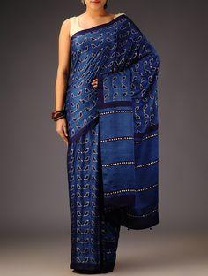 Buy Indigo Gajji Silk Khari Block Printed Saree Sarees Free Bird and Mulberry Online at Jaypore.com