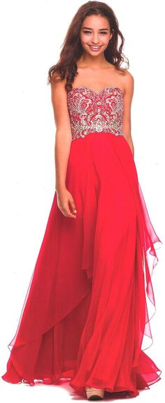 Evening Dresses<BR>Military Ball Dresses under $200<BR>553<BR>Long strapless dress, embellished with stones and bead work.