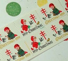 This listing is for 20 vintage seals from 1959. These are so cute, with two darling children feeding animals, and the year featured on the front.