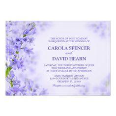 Purple Wedding Invitation Lavender Flowers Invite