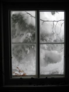 Snow outside window