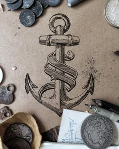 I rarely do tattoo design, but @doc__joe enticed me when he said he wanted an anchor and lettering done in a style very similar to the work I have in my gallery. How could i resist?  Like I said, I know very little about tattoo art so please overlook...
