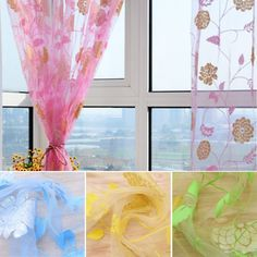 Cheap curtain making, Buy Quality curtain scarf directly from China curtain door Suppliers: Rose Flower Print Sheer Voile Tulle Curtain Door Window Room Curtain Drape Panel Scarf Valances100% Brand New and high q