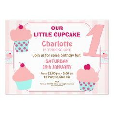 Zazzle offers a huge range of Cupcake first birthday invitations in different styles & themes. Celebrate the being number one with birthday invites today! First Birthday Cupcakes, 1st Birthday Party Invitations, Girl Cupcakes, Birthday Fun, 1st Birthday Parties, Custom Invitations, Rsvp, First Birthdays, Party Themes