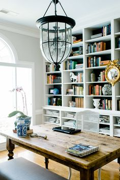 Home office with an entire wall of shelving: http://www.stylemepretty.com/living/2015/08/17/the-best-ever-shelfies/