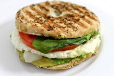 Panera Egg White, Avocado and Spinach Power Breakfast Sandwich. My skinny version is much lower in fat and calories than Panera. Each has 277 calories, 10g fat and 7 Weight Watchers POINTS PLUS. http://www.skinnykitchen.com/recipes/panera-egg-white-avocado-and-spinach-power-breakfast-sandwich-copycat/