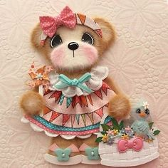 ELITE4U-Spring-Bird-BOUTIQUE-GIRL-Tear-BEAR-Premade-Scrapbook-Page-3paperwishes