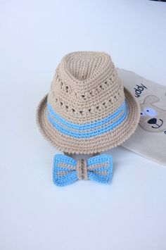 165e268776d3ef Fedora Hat and Bow Tie Set Baby Boy Shower Gift Newborn Photography Props  Crochet Cotton Summer Fedora Hats Trilby Hat Beige Blue Gift Set