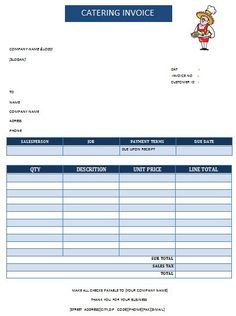catering invoice template 4 | catering invoice templates, Invoice templates
