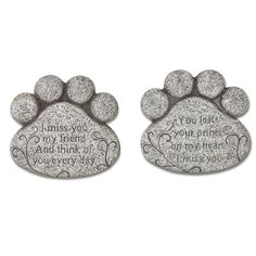 Gerson 10-Inch Long Cement Pet Memorial Paw Print Stepping Stones (Set of 2), Gray