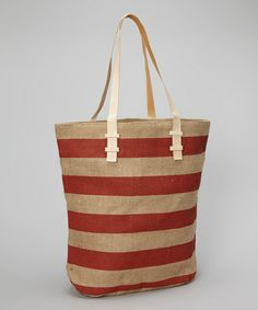 Take a look at this Red Stripe Andrea Oversize Jute Tote by Found Object on #zulily today!