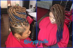 I love when my clients experiment with color!  Faux locs with strawberry blonde & blueberry! Start your hair growth journey with a great protective style!  Mckinzie Chic Hair Studio  508 S 5th St  Philadelphia, Pa. 19147 Stylist • Kryssy email  thekryssyhair@yahoo.com for pricing & appointments!