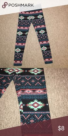 Multi colored patterned leggings Worn once, super soft patterned leggings. Pants Leggings
