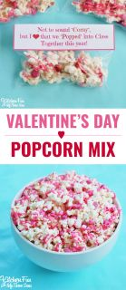 Valentine's Day Snack - White Chocolate Popcorn with a Free Printable!
