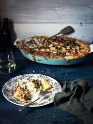 katies fish pie, crunchy bacon, leek and caper topping