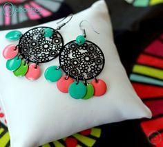 Boucles d'oreilles, Collection Happy Days, Pastilles colorées : Boucles d'oreille par cabochon-chic