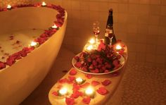 Romantic bath.