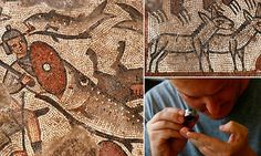 The mosaics decorate the floor of a fifth century synagogue, revealing images of the Pharaoh's soldiers being swallowed by massive fish, overturned chariots, and animals of many kinds.