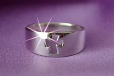 Cut Out Cross Ring  - Sterling Cut Out Cross Ring - Cross Ring