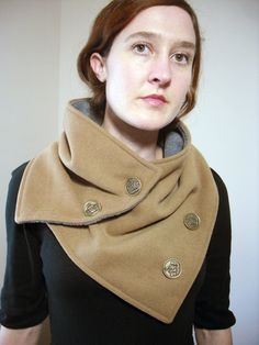 Camel Khaki Tan Neck Warmer Scarf with Crest Button
