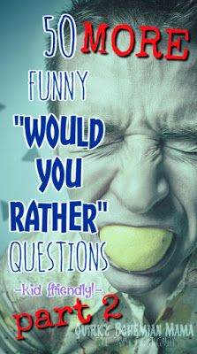 "50 Funny ""Would You Rather"" Questions for the Whole Family {kid friendly, family night game} funny would you rather questions for kids would you rather questions funny clean would you rather questions hard would you rather questions for couples Searches related to funny would you rather questions for kids would you rather questions for middle school hilarious would you rather questions funny would you rather questions for middle schoolers would you rather questions for kids list wo..."