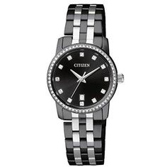 Citizen Quartz EU6037-57E Ladies Black Crystal Watch w/Date. Black Dial with Swarovski¨ Crystal Markers. Date Display. Swarovski¨ Crystal Bezel. Fold-Over Clasp with Double Push Button. Five (5) Year Limited ManufacturerÕs Warranty.
