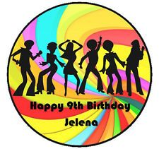 DISCO MIRROR BALL PERSONALISED EDIBLE WAFER PAPER CAKE TOPPER DECORATION IMAGE