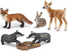 Schleich Animaux de la forêt set des figurines - Garenne renard petit grisard cerf de Virginie - 14631 14648 14651 14711
