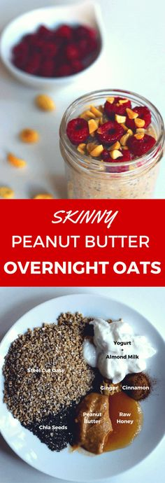 This healthy peanut butter overnight oats can be made in a jar for an easy and delicious grab-and-go breakfast or snack. The recipe uses steel cut oats, almond milk, and is powered with high protein from the chia seeds, yogurt and peanut butter. Cinnamo