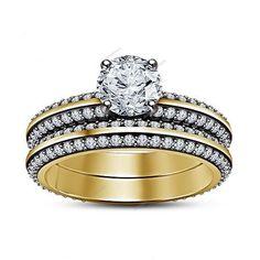 D/VVS1 Diamond Prong Setting Two Tone Bridal Ring Set Silver Yellow Gold Finish  #aonejewels #EngagementWeddingAnniversary
