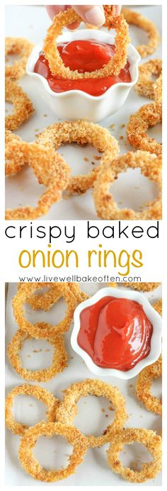 Crispy baked onion rings made with just a few simple ingredients and much healthier than the fried version!