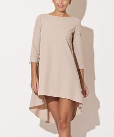 Look at this #zulilyfind! Beige Boatneck Hi-Low Dress #zulilyfinds