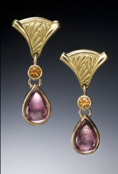 Pink tourmaline and spessartite garnet earrings in 18K gold by Conni Mainne
