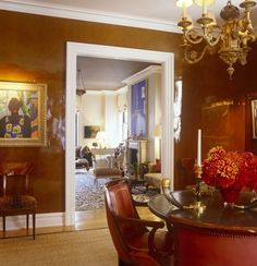 Cinnamon lacquer dining room :: Brian J. McCarthy.  Great color on these walls--so lumnous.