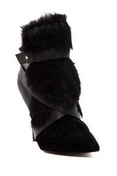 Charles Jourdan Knife Genuine Dyed Rabbit Fur Ankle Boot