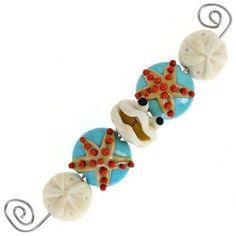 Handmade Clam and Starfish Lampwork Beads by Bindy Lambell