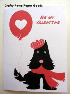 Valentine's Day Card, dog card, Scottie card, Scottie Valentine card on Etsy, $4.00