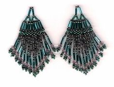 Egyptian Lotus Variation Two Earrings Pattern at Sova-Enterprises.com Lots of free beading patterns and tutorials.