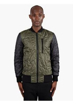 Men's Khaki Quilted Bomber Jacket