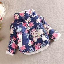 2016 girls warm coat baby winter long sleeve flower jacket children cotton-padded clothes kids christmas outwear(China (Mainland))