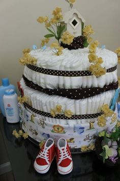 Diaper cake, baby shower, birds nest theme, bird house, baby shoes