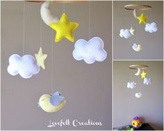 Clouds Moon and Stars Mobile
